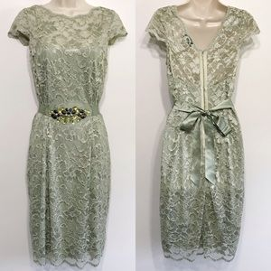Teri Jon Mint Green Lace Wiggle Cocktail Dress 8